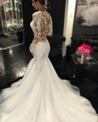 Forme fourreau robe de mariée élégante manche longue dentelle transparent traîne maxi_3