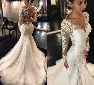 Forme fourreau robe de mariée élégante manche longue dentelle transparent traîne maxi_6