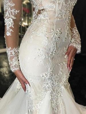Forme fourreau robe de mariée élégante manche longue dentelle transparent traîne maxi_4