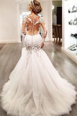 Forme fourreau robe de mariée élégante manche longue dentelle transparent traîne maxi_5