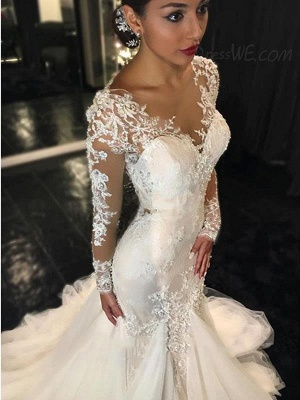 Forme fourreau robe de mariée élégante manche longue dentelle transparent traîne maxi_2