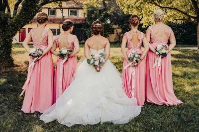 Robe de demoiselle d'honneur fourreau mousseline avec dentelle | Robe d'invité de mariage gaine chic col en V_3