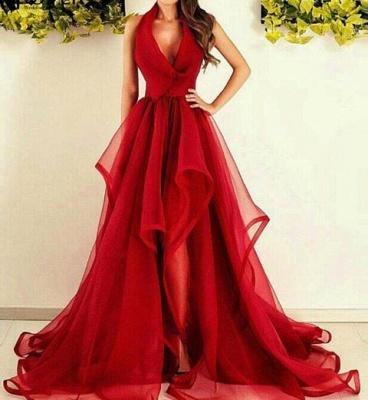 Rouge Robe de Soirée Longue en Tulle Robe de Cocktail Plissé sans manches nouvelle collection 2020 MM0014_1