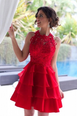 Classique robe de soirée court/mini en dentelle délicat et tulle couleurs au choix_1