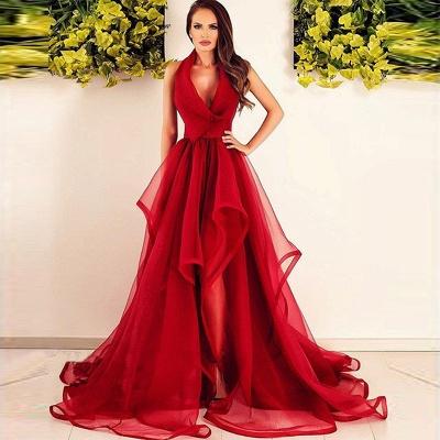 Rouge Robe de Soirée Longue en Tulle Robe de Cocktail Plissé sans manches nouvelle collection 2020 MM0014_2