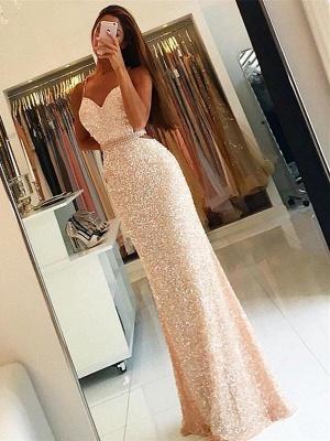 Forme fourreau robe de soirée pailleté brillant bretelle fine ceinture en perle longueur sol_2