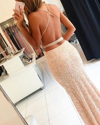 Forme fourreau robe de soirée pailleté brillant bretelle fine ceinture en perle longueur sol_4