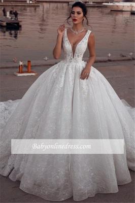 Robe de mariée princesse dentelle sublime | Robe de mariage princesse col en V_3