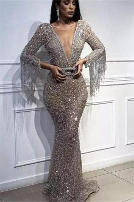 Robe de soirée sirène pailletée col en V | Robe de cérémonie trompette sexy avec cristal_1