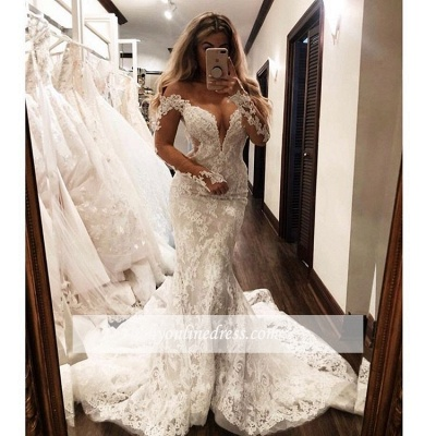 Robe de mariée sirène manches longues   Robe de mariage trompette dentelle col en V_2