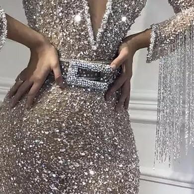 Robe de soirée sirène pailletée col en V | Robe de cérémonie trompette sexy avec cristal_5
