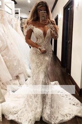 Robe de mariée sirène manches longues   Robe de mariage trompette dentelle col en V_3