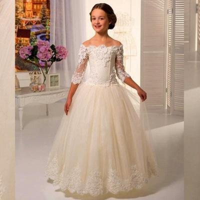 Robe de demoiselle d'honneur fillette princesse tulle avec dentelle | Robe fillette de cérémonie 2021_3