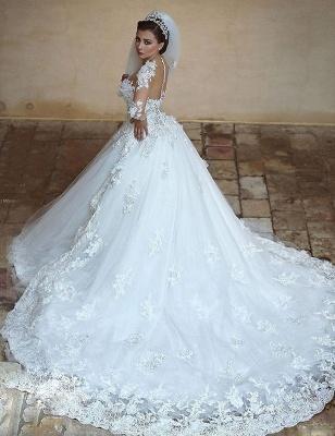 Forme Marquise Col U profond Tulle Traîne mi-longue Robes de mariée avec Appliques_3