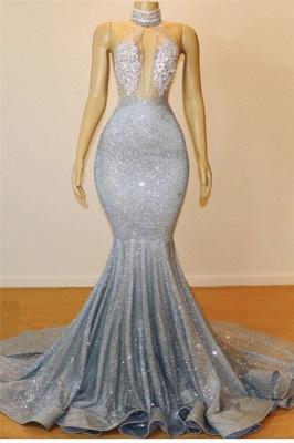 Robe de soirée sirène pailletée sexy | Robe de cérémonie trompette à col halter_1