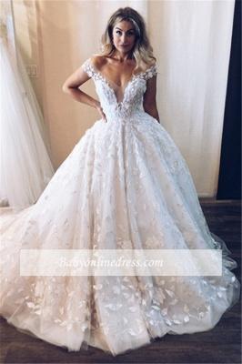 Robe de mariée princesse avec appliques | Robe de mariage princesse épaules nues_3