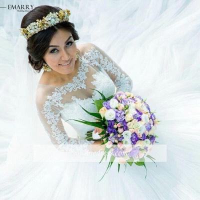 Forme Marquise alayage/Pinceau train Tulle Robes de mariée 2020 avec Dentelle_2