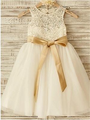 Robe de demoiselle d'honneur fillette avec nœud | Robe fillette de cérémonie_1