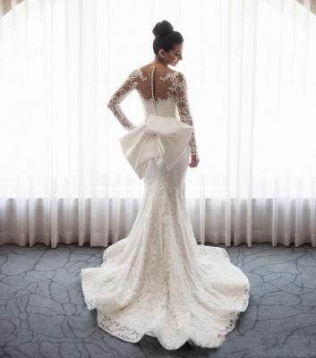Robe de mariée sirène traîne détachable | Robe de mariage trompette dentelle élégante_3
