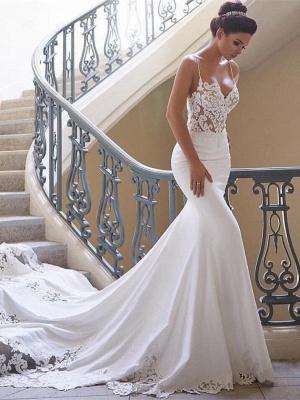 Robe de mariée sirène dentelle avec bretelles spaghetti | Robe de mariage trompette longue sexy_1