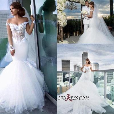 Forme Sirène/Trompette Traîne mi-longue Epaules nues Tulle Robes de mariée 2021 avec Appliques_1