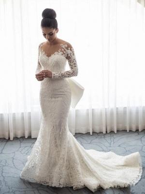 Robe de mariée sirène traîne détachable | Robe de mariage trompette dentelle élégante_1