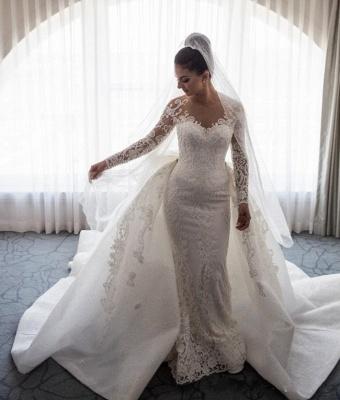 Robe de mariée sirène traîne détachable | Robe de mariage trompette dentelle élégante_4