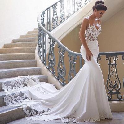 Robe de mariée sirène dentelle avec bretelles spaghetti | Robe de mariage trompette longue sexy_2