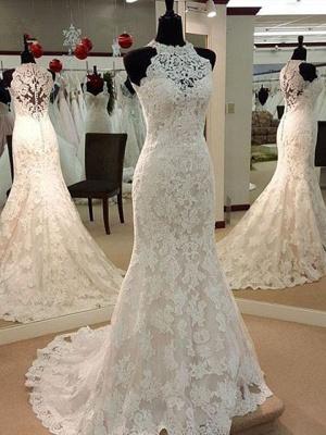 Robe de mariée sirène dentelle élégante | Robe de mariage trompette à col halter_1