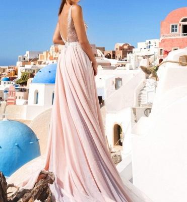 Luxueux Col en V Sans Manches Forme Marquise Robe de Soirée Longue Rose Robe de Cocktail avec Applique_2