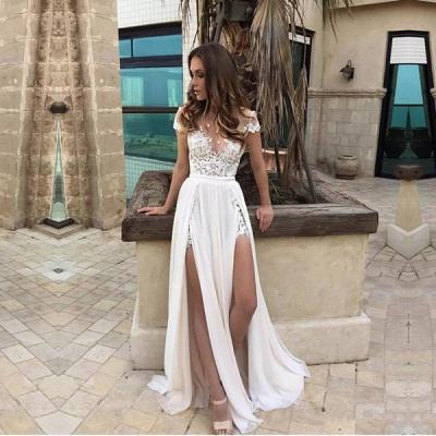 Forme Princesse alayage/Pinceau train Mousseline polyester Robes de bal 2020 avec Dentelle_3