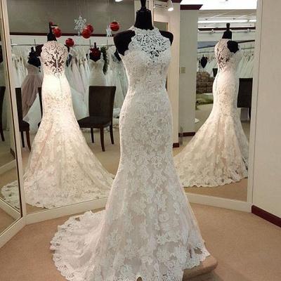 Robe de mariée sirène dentelle élégante | Robe de mariage trompette à col halter_2