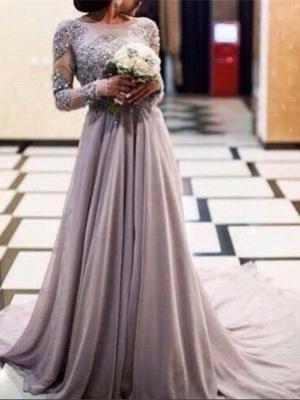 Robe de soirée A-ligne manches longues avec perles | Robe de cérémonie A-ligne longue chic_1