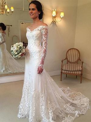 Forme trompette robe de mariée avec manche longue en dentelle délicat traine alayage_1
