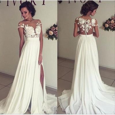 Robe de mariée A-ligne mousseline chic | Robe de mariage ligne A avec dentelle_3