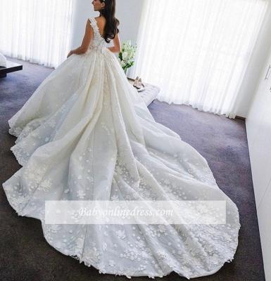 Robe de mariée princesse traîne cathédrale avec fleurs | Robe de mariage princesse longue élégante_5