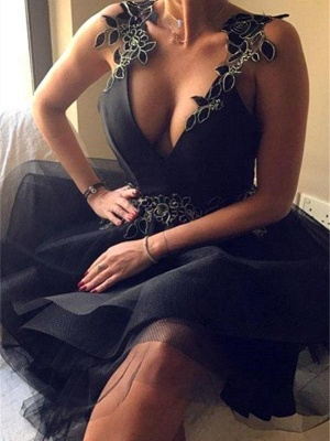 Robe de cocktail mini col en V sexy | Robe de soirée courte_2
