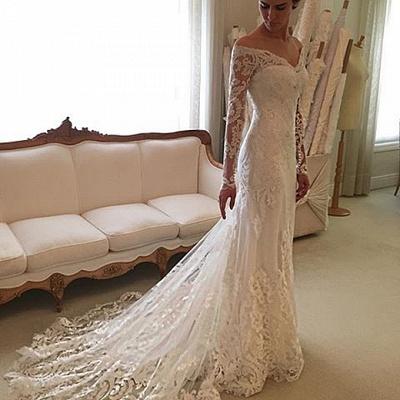 Forme trompette robe de mariée avec manche longue en dentelle délicat traine alayage_4
