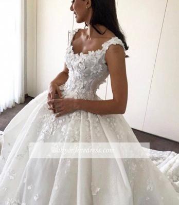 Robe de mariée princesse traîne cathédrale avec fleurs | Robe de mariage princesse longue élégante_4