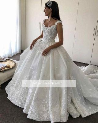 Robe de mariée princesse traîne cathédrale avec fleurs | Robe de mariage princesse longue élégante_3
