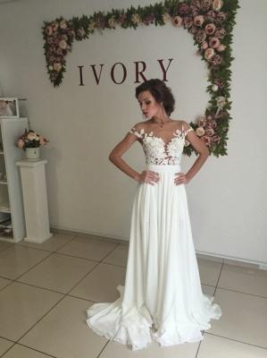 Robe de mariée A-ligne mousseline chic | Robe de mariage ligne A avec dentelle_4