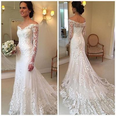 Forme trompette robe de mariée avec manche longue en dentelle délicat traine alayage_5