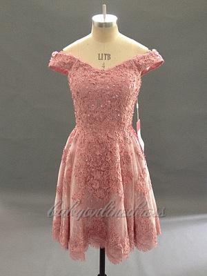 Forme princesse robe de cérémonie courte en dentelle exquis avec bretlle_3