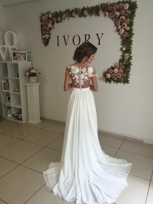 Robe de mariée A-ligne mousseline chic | Robe de mariage ligne A avec dentelle_6