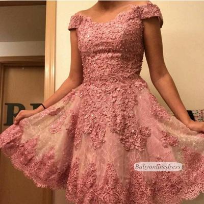 Forme princesse robe de cérémonie courte en dentelle exquis avec bretlle_5