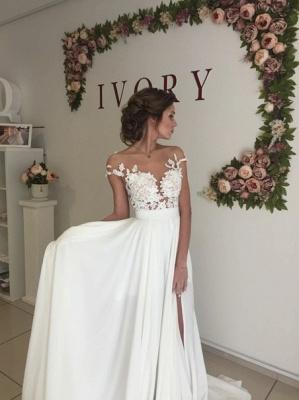 Robe de mariée A-ligne mousseline chic | Robe de mariage ligne A avec dentelle_5