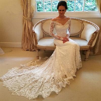 Forme trompette robe de mariée avec manche longue en dentelle délicat traine alayage_3