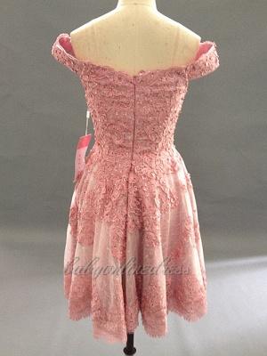 Forme princesse robe de cérémonie courte en dentelle exquis avec bretlle_4