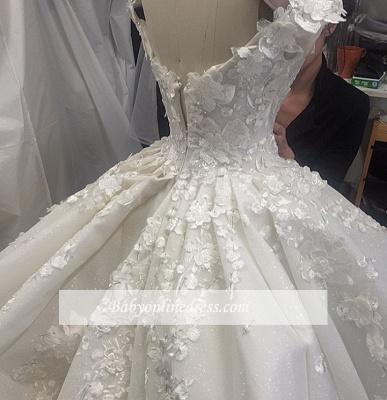 Robe de mariée princesse traîne cathédrale avec fleurs | Robe de mariage princesse longue élégante_6