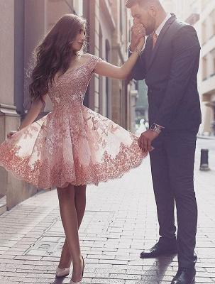 Forme princesse robe de cérémonie courte en dentelle exquis avec bretlle_2